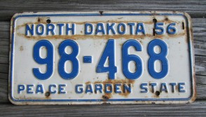 North Dakota Blue White License Plate License Plate 1956