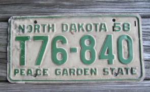 North Dakota Blue White License Plate License Plate 1958
