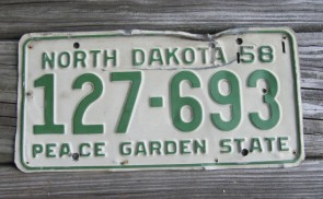 North Dakota Blue White License Plate License Plate 1958