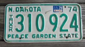 North Dakota Green White License Plate License Plate 1979