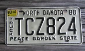 North Dakota Black White License Plate License Plate 1980