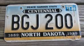 North Dakota Centennial License Plate 1989 Peace Garden State