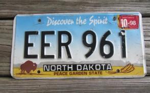 North Dakota Buffalo Discover The Spirit License Plate 1998