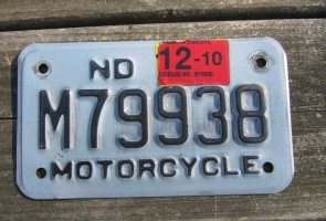 North Dakota Motorcycle License Plate Blue Black 2010