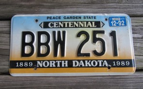 North Dakota Centennial License Plate 1992 Peace Garden State