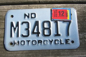 North Dakota Motorcycle License Plate Blue Black 2016