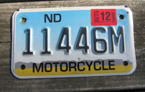 North Dakota Motorcycle License Plate Mountain Scene 2013