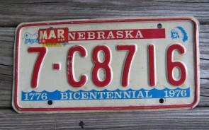 Nebraska Bicentennial License Plate 1984