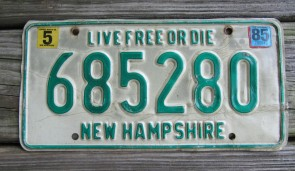 New Hampshire Live Free Or Die License Plate 1985