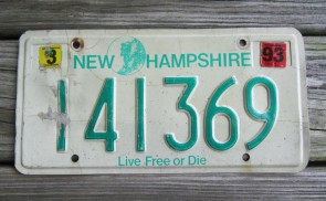 New Hampshire Live Free Or Die License Plate 1993