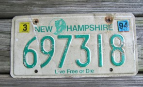 New Hampshire Live Free Or Die License Plate 1994