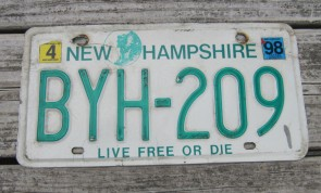 New Hampshire Old Man of The Mountain Live Free or Die License Plate 1998