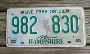 New Hampshire Old Man of The Mountain Live Free or Die License Plate
