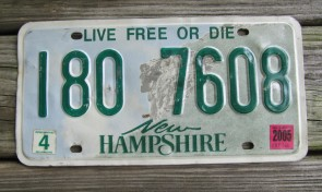 New Hampshire Old Man of The Mountain Live Free or Die License Plate 2005