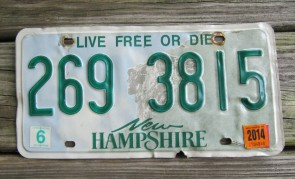 New Hampshire Old Man of The Mountain Live Free or Die License Plate 2014