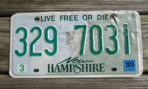 New Hampshire Old Man of The Mountain Live Free or Die License Plate 2015
