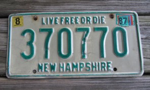 New Hampshire Live Free Or Die License Plate 1987