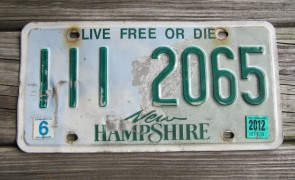 New Hampshire Old Man of The Mountain Live Free or Die License Plate 2012