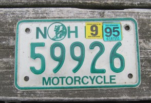 New Hampshire Motorcycle License Plate Old Man of The Mountain 1995