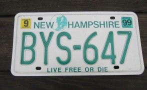 New Hampshire Old Man of The Mountain Live Free or Die License Plate 1999 BYS 647