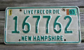 New Hampshire Live Free Or Die License Plate 1983