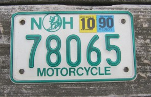 New Hampshire Motorcycle License Plate Old Man of The Mountain 1990