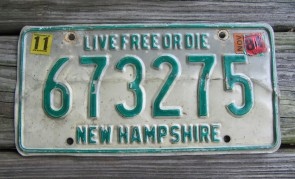 New Hampshire Live Free Or Die License Plate 1984