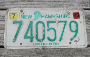 New Hampshire Old Man of The Mountain Live Free or Die License Plate 1989