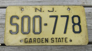 New Jersey Garden State Blue License Plate 1990's