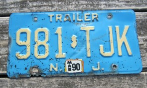 New Jersey Trailer Blue White License Plate