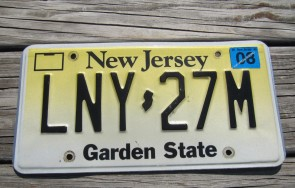 New Jersey Tan Black Motorcycle License Plate 1965