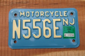 New Jersey Motorcycle License Plate Blue White 1994