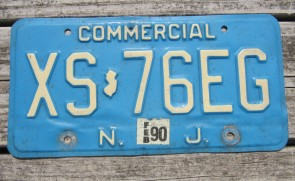New Jersey Garden State Blue Commercial License Plate 1990
