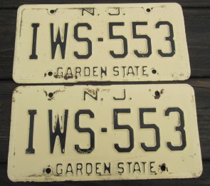 New Jersey Garden State Tan License Plate Pair 1970's