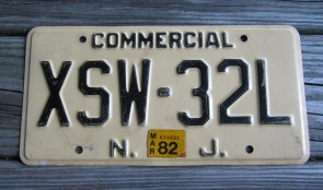 New Jersey Garden State Tan License Plate 1982