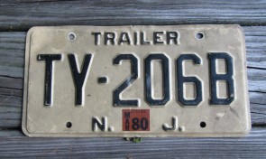 New Jersey Garden State Tan License Plate 1980