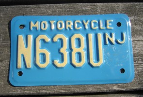 New Jersey Motorcycle License Plate Blue White 1990's