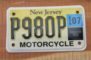 New Jersey Motorcycle License Plate Yellow Fade 2007