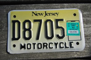 New Jersey Motorcycle License Plate Yellow Fade 1997