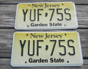 New Jersey Garden State License Plate Pair Yellow Fade