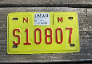 New Mexico Motorcycle License Plate Yellow Red 2016