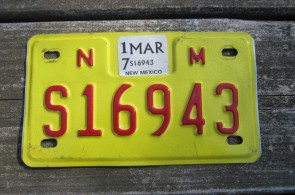New Mexico Motorcycle License Plate Yellow Red 2017