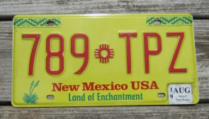 New Mexico Yellow Land Of Enchantment License Plate 2019