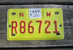 New Mexico Motorcycle License Plate Yellow Red 2019