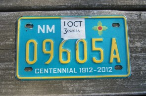 New Mexico Motorcycle License Plate Turquoise Centennial 2013