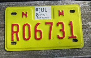 New Mexico Motorcycle License Plate Yellow Red 2008