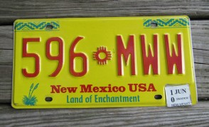 New Mexico Yellow Land Of Enchantment License Plate 2010