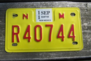 New Mexico Motorcycle License Plate Yellow Red 2011