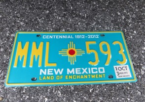 New Mexico Centennial License Plate 2013 Land Of Enchantment 1912 -2002