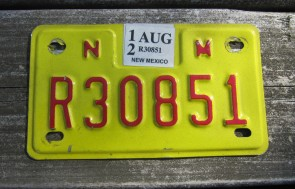 New Mexico Motorcycle License Plate Yellow Red 2012